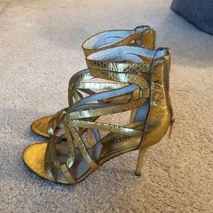 Michael Kors 3.5 inch gold snake stilettos - 7